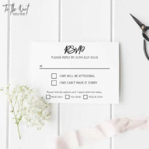 Billie Minimal Floral Wedding Invitations + RSVP