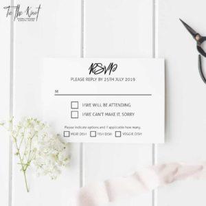 Personalised Printable Billie Minimal Wedding Invitations + RSVP