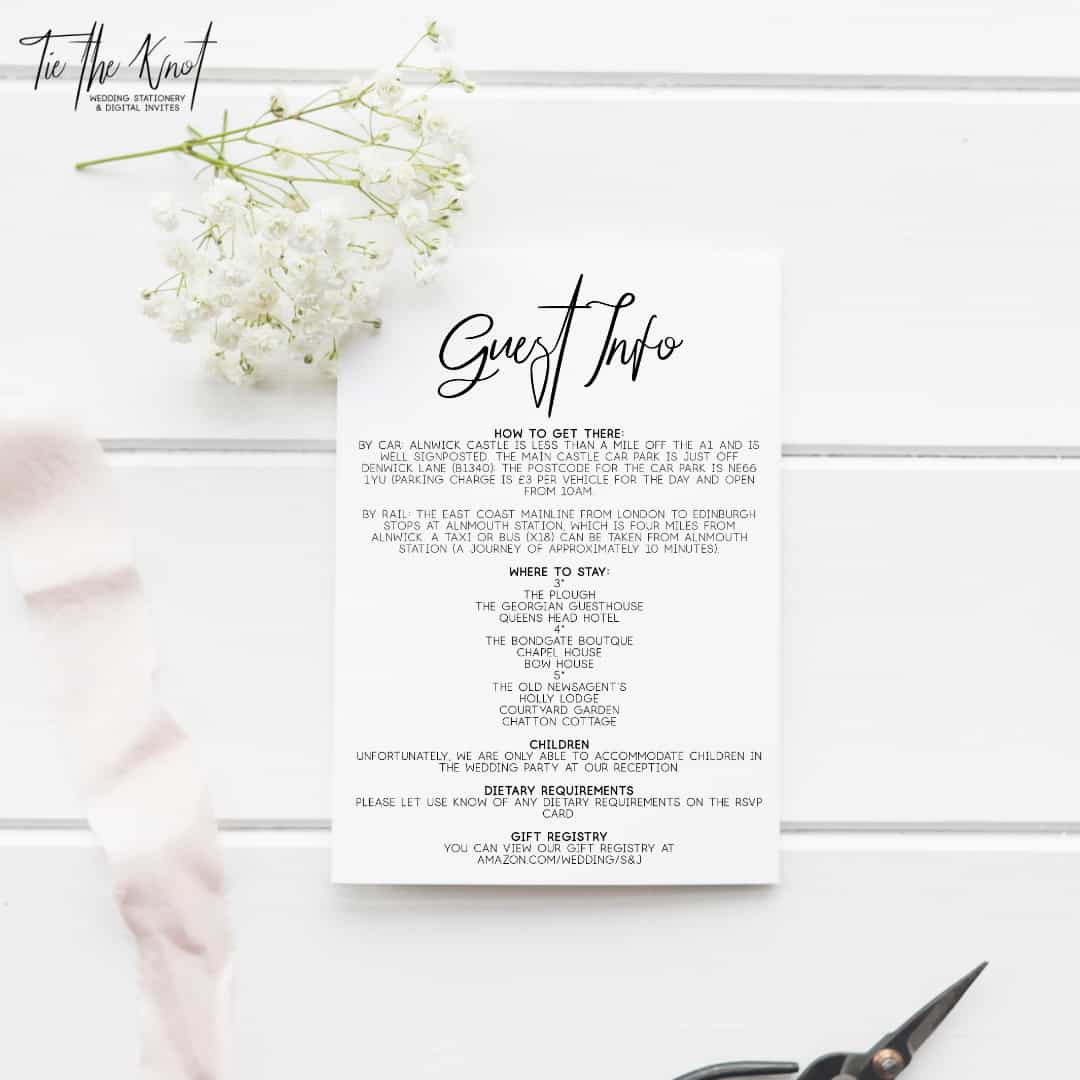 Personalised Printable Billie Minimal Wedding Invitations