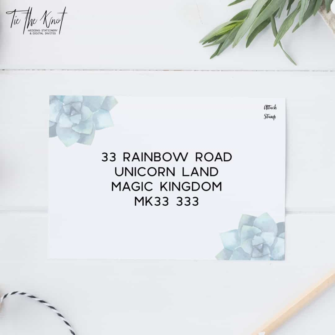Personalised Printable Succulent Paradise Wedding Invitations + RSVP