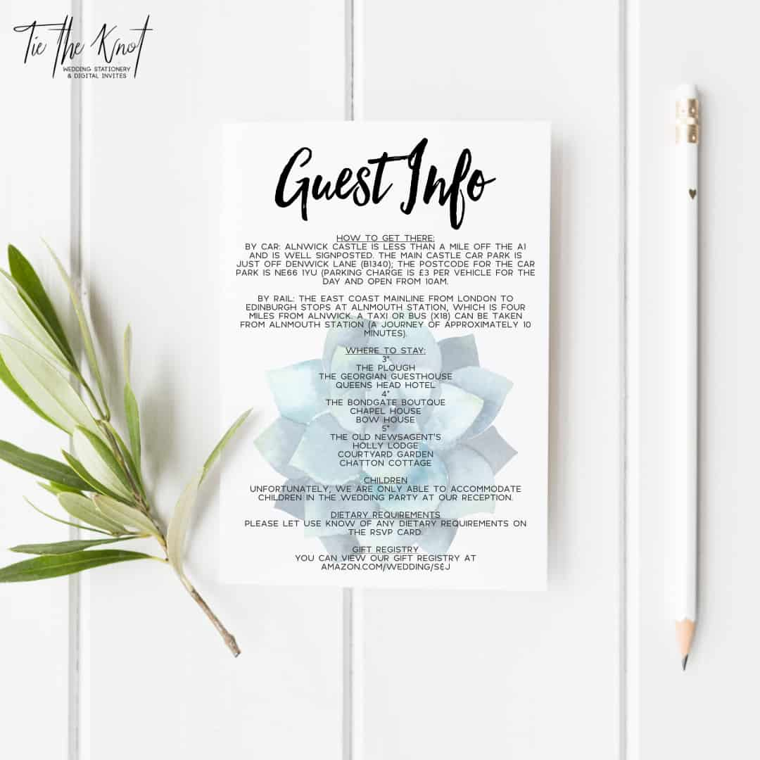 Personalised Printable Succulent Paradise Wedding Invitations + RSVP