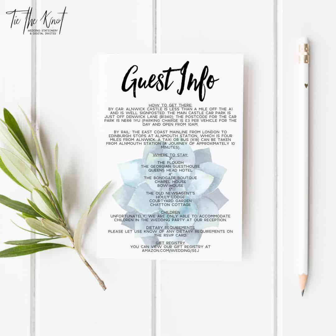 Personalised Printable Succulent Paradise Wedding Invitations
