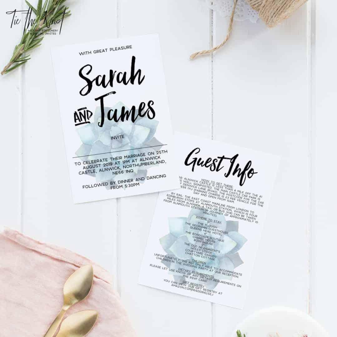 Personalised Printable Succulent Paradise Floral Wedding Invitation Suite
